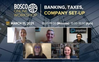 "11.03.21, Bosco Online Workshop ""Banking, Company Set-Up, Taxes"":"
